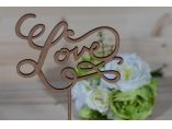 """DÉCOR """"LOVE""""Decor nunta cu suport pentru aranjamente florale, realizat din lemn, vopsit (conform preferinte).Dimensiuni: 30 x 15 x 0.4 +15 cm - HANDICRAFT ATELIER #11"""