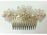 Pieptan mireasa aurit cu cristale si perle made with SWAROVSKI ELEMENTS - TRIA ALFA Bijuterii #4